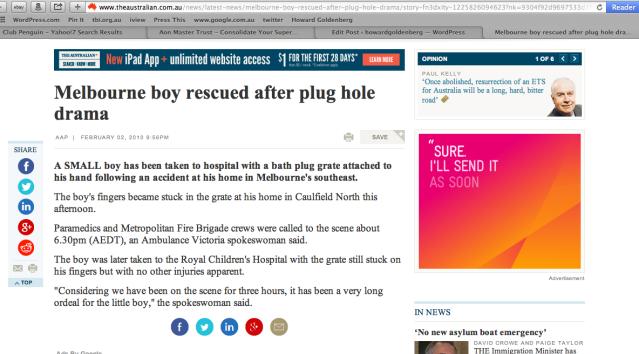 Melbourne Boy Rescued After Plug Hole Drama